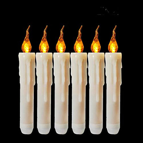 6pcs Flameless Taper Candles AA Battery Operated Small Led Tapered Candle Ivory Unscented Flickering Church Candle Amber Yellow Glow for Halloween Thanksgiving Christmas - llightsdaddy - Allcute - Flameless Candles
