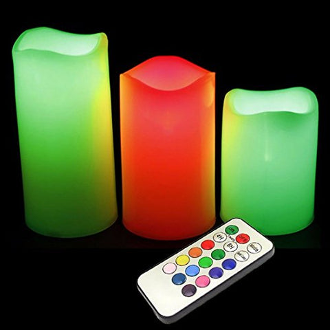 Flameless Color Changing Candles (3 candles that mimics a real candles) with Remote Control & Timer (Made With Real Wax!) - llightsdaddy - Generic - Flameless Candles