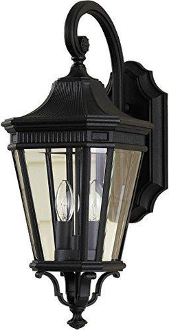 "Feiss OL5401BK Cotswold Lane Outdoor Patio Lighting Wall Lantern, Black, 2-Light (9""W x 21""H) 120watts - llightsdaddy - Feiss - Wall Sconces and Lamps"
