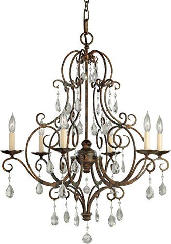 "Feiss-F1902/6MBZ-Chateau-Crystal-Candle-Chandelier-Lighting,-Bronze,-6-Light-(25""Dia-x-30""H)-360watts"