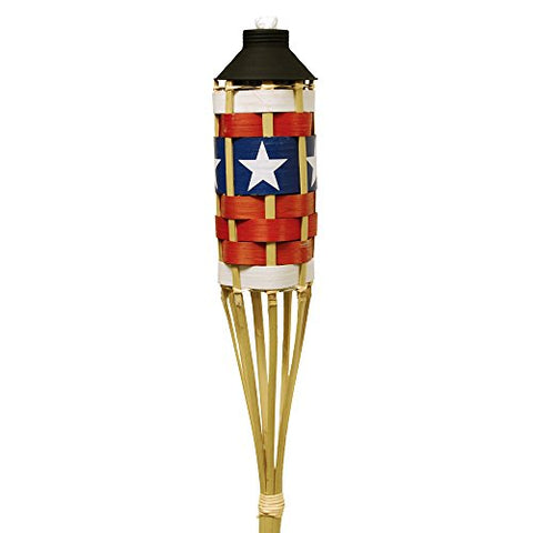 TIKI Brand 57-Inch Americana Patriotic Bamboo Torch with FlameKeeper Technology, Single Torch