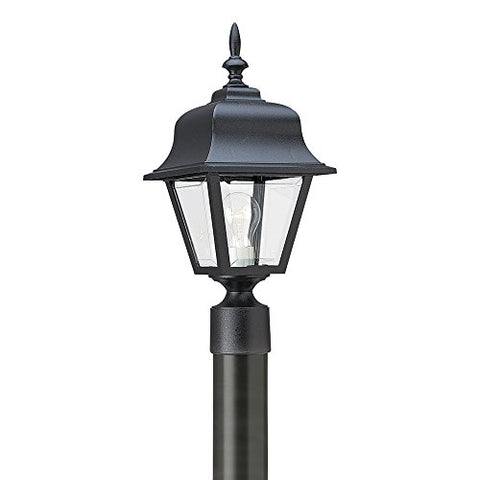 Sea Gull Lighting 8255-12 One-Light Outdoor Post Lantern with Clear Beveled Acrylic Panels, Black Finish - llightsdaddy - Sea Gull Lighting - Outdoor Porch & Patio Lights