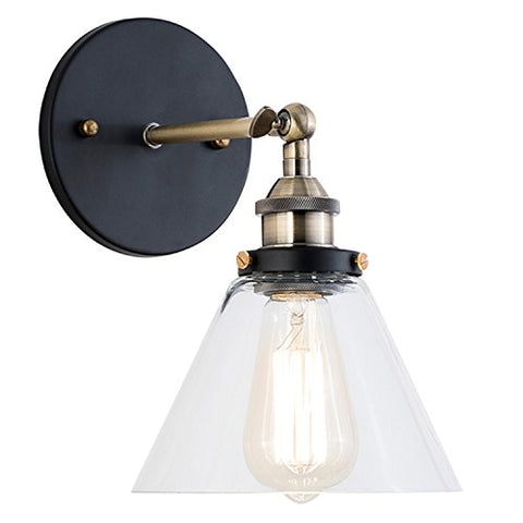 Light Society Cruz Wall Sconce, Clear Glass Shade with Antique Brass Finish, Vintage Modern Industrial Farmhouse Lighting Fixture (LS-W129) - llightsdaddy - Yes - Island Lights