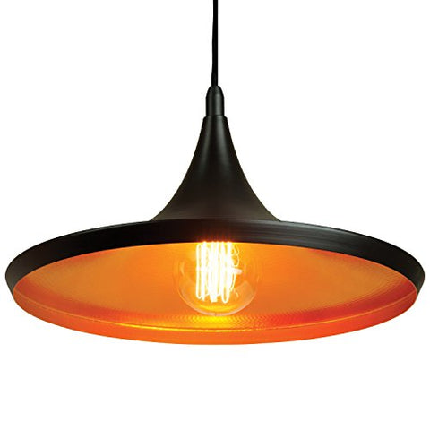 "sunlite 07026-su vintage style cone pendant fixture, medium base socket (e26), 78"" adjustable cord length, 14-inch, matte black with copper colored reflector"