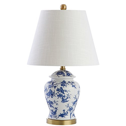 "Penelope 22"" Chinoiserie LED Table Lamp, Blue/White, Classic, Traditional, Bulb Included"