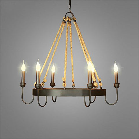 Ladiqi Rustic Chandelier 6 Lights Farmhouse Pendant Light Fixture Island Lighting Wrought Iron and Hemp Rope Kitchen Dining Room Living Room - llightsdaddy - Ladiqi - Island Lights