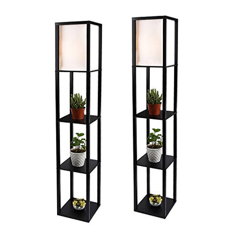 Shelf Floor Lamp with Linen Shade, UL Listed, Wooden Frame, 63 inch Height, Switch on/Off, Etagere Organizer Shelf, Black, Set of 2 - llightsdaddy - PULUOMIS - Lamp Shades