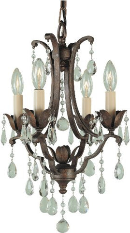 Feiss F1881/4BRB Maison De Ville Crystal Small Candle Chandelier Lighting Bronze 4-Light (13Dia x 18H) 240watts
