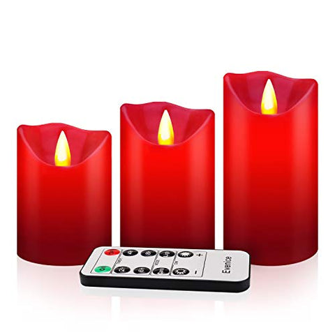 Evenice Flameless Candles Flickering LED Candles Light Pillar Flame Remote Candles Decorative Battery Unscented Pillar Wax with Timer and 10-Key for Christmas Red(Set of 3) - llightsdaddy - Evenice - Flameless Candles