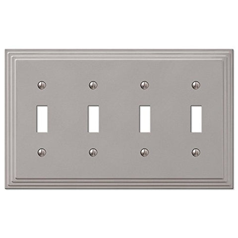 Four Gang Toggle Switch Cover Wall Plate Satin Nickel Finish - llightsdaddy - WholesalePlumbing - Wall Plates