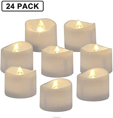 YYCH Battery Operated LED Tea Lights, Pack of 24, Flameless Votive Tealights Candle with Warm White Flickering Bulb Light, Small Electric Fake Tea Candle Realistic for Wedding, Table, Gift,Outdoor - llightsdaddy - YYCH - Flameless Candles