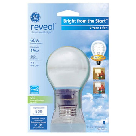 GE Lighting 63508 Reveal Bright from the Start CFL 15-Watt (60-watt replacement) 740-Lumen A19 Light Bulb with Medium Base, 1-Pack
