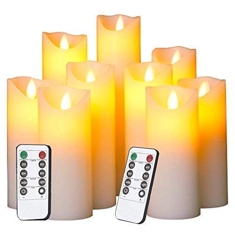 Evenice Flameless Candles LED Candles Flickering Battery Operated Flickering Light Pillar Real Smooth Wax with Timer and 10-Key Remote for Wedding(Set of 9) - llightsdaddy - Evenice - Flameless Candles