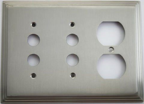 Satin Nickel Deco Step Style 3 Gang Wall Plate - 2 Push Button Switch 1 Duplex Outlet  Classic Accents Wall Plates llightsdaddy.myshopify.com lightsdaddy