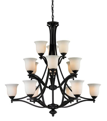 Lagoon 15 Light 42 inch Matte Black Chandelier Ceiling Light