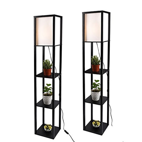 Shelf Floor Lamp with Linen Shade, UL Listed, Wooden Frame, 63 Inch Height, Switch on/Off, Etagere Organizer Shelf,Set of 2 Black - llightsdaddy - PULUOMIS - Lamp Shades
