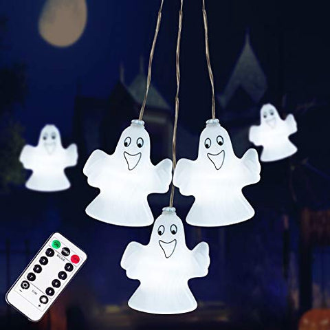 Halloween Decorations Lights, 30LED Spooky Ghost String Lights Battery Operated with Remote Control Perfect for Indoor/Outdoor Halloween Party, Haunted House Creating Horror Decoration (Large)