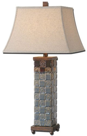 Distressed Dark Blue Mincio Lamp Model-27398
