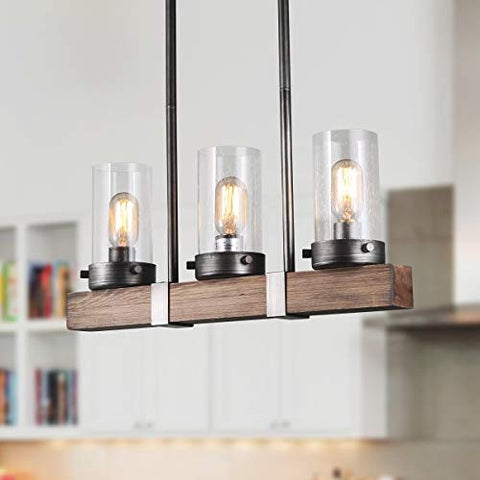 LNC Kitchen Light Fixtures Wood Farmhouse Chandeliers for Dining Rooms, A03346, - llightsdaddy - LNC - Island Lights