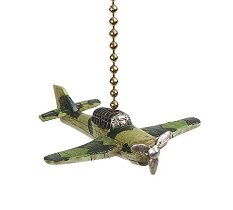 Clementine Designs Fighter Plane Ceiling Fan Light Dimensional Pull Resin Green
