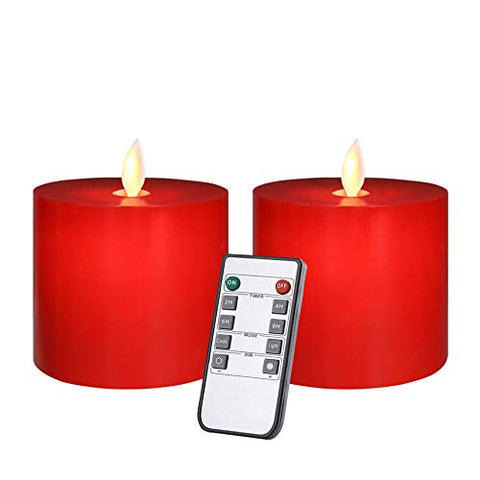 Only-us Flickering LED Flameless Candles Battery Operated with Remote Control Timers for Home Party Wedding Christmas Decoration Dimmable Pillar Red Candles 3x3 in Flat top 2pcs - llightsdaddy - Only-us - Flameless Candles