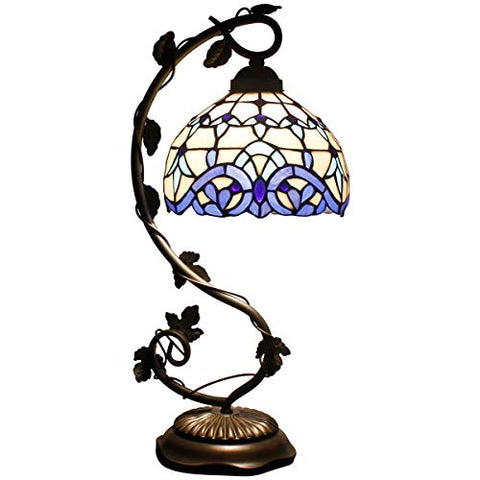 Tiffany Lamp White Blue Stained Glass and Baroque Style Table Lamps Wide 8 Inch Height 21 Inch for Living Room Antique Desk Beside Bedroom Set S003B WERFACTORY