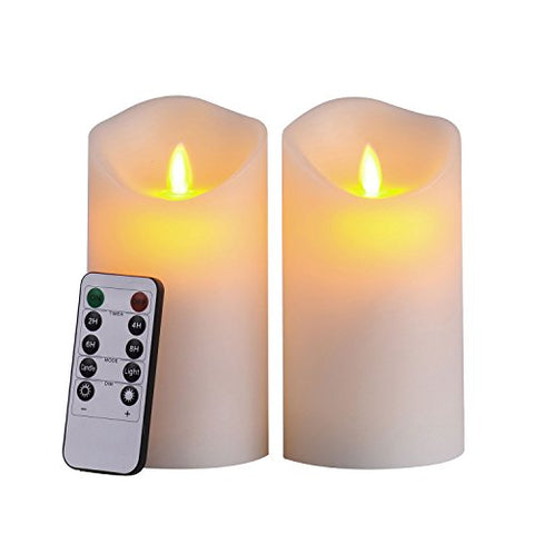 "Pandaing 3.25""x6"" LED Flameless Candles with 10-Key Remote Control - 2/4/6/8 Hours Timer, Classic Pillar Moving Flame Real Wax Candles, Battery Powered, Ivory Color, Set of 2 - llightsdaddy - Pandaing - Flameless Candles"