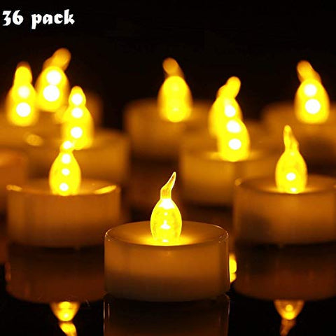 Tea Lights,Flameless LED Tea Light Candles 100 Hours Pack of 36 Realistic Flickering Bulb Battery Operated Tea Lights Seasonal & Festival Celebration Electric Fake Candle in Warm Yellow(36) - llightsdaddy - YHY - Flameless Candles
