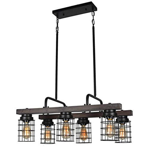 Beuhouz Farmhouse Chandelier Light, Metal and Wood Kitchen Island Light Fixture Linear Cage Chandelier 6 Lights Edison E26 8004 - llightsdaddy - Beuhouz Lighting - Island Lights
