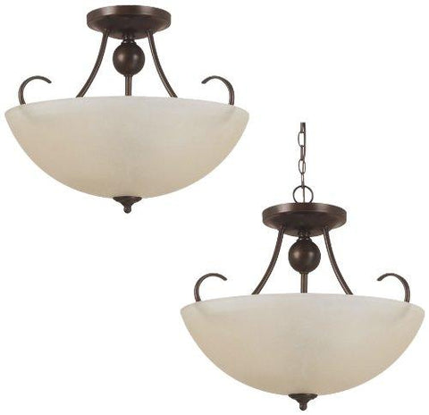 Sea Gull Lighting 77316BLE-710 Convertible Semi-Flush/Pendant with Cafe TintGlass Shades, Burnt Sienna Finish - llightsdaddy - Access Lighting - HI - Low Voltage Transformers