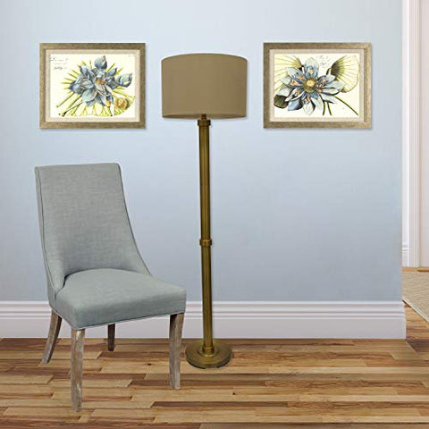 Decor Therapy Zadar Brass Floor Lamp with Drum Shade - llightsdaddy - Decor Therapy - Lamp Shades