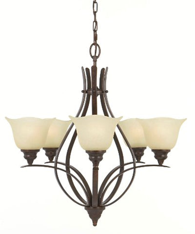 Feiss F2055/5GBZ Morningside Chandelier Lighting Bronze 5-Light (26Dia x 26H) 500watts
