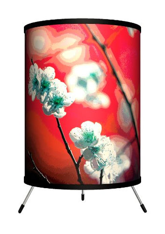 "Lamp-In-A-Box TRI-DEC-CHERR Decor Art - Cherry Blossom Red in Tripod Lamp, 8"" x 14"" x 8"""