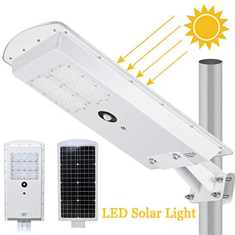LEDMO Solar LED Street Light 3-Mode Setting Lithium Battery Cordless Solar Powered 6500k