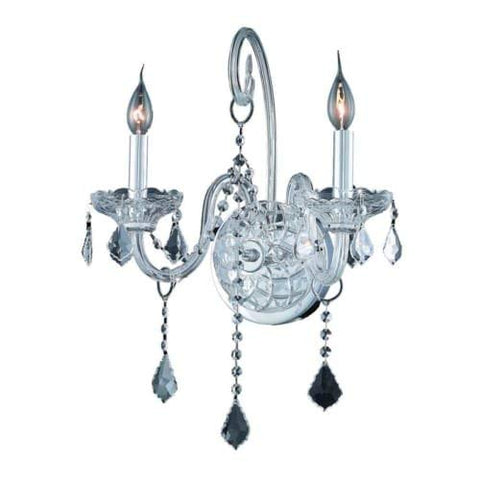 2-Light Wall Sconce Clear Royal Cut Crystal