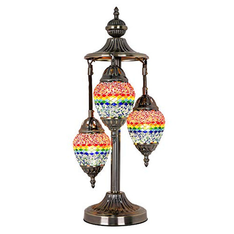 Marrakech Handmade 3 Globe Egg Shaped Mosaic Table Lamp Stained Glass Turkish Bedside Lamp