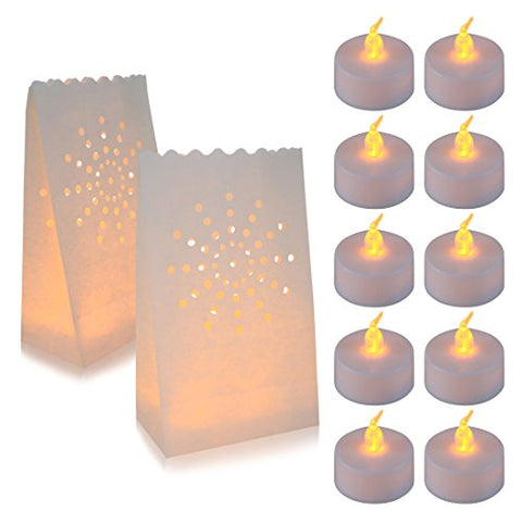 AceList 30 Set Luminaries Bag with Candles Flameless Tea Lights for Wedding Party Decoration - llightsdaddy - AceList - Flameless Candles