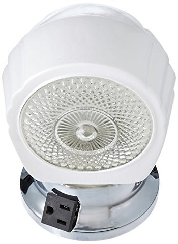 Nuvo SF77/121B Chrome Bath Shade With White/Crystal Bottom Glass With Convenience Outlet