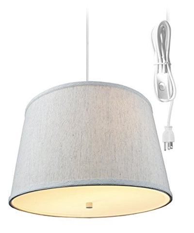 2 Light Plug-in Pendant Light by Home Concept - Hanging Swag Lamp Textured Oatmeal with Diffuser - Perfect for Apartments, dorms, no Wiring Needed (Textured Oatmeal, White Two-Light)