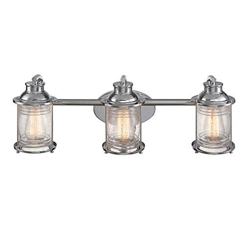 globe electric 51272 bayfield 3-light vanity light, chrome, ribbed seeded glass shades
