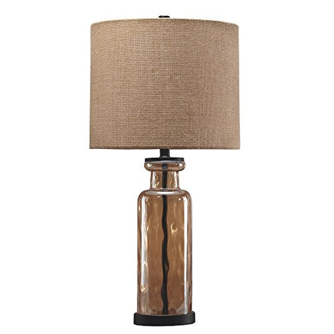 Ashley Furniture Signature Design - Laurentia Glass Table Lamp with Drum Shade - Champagne Toned