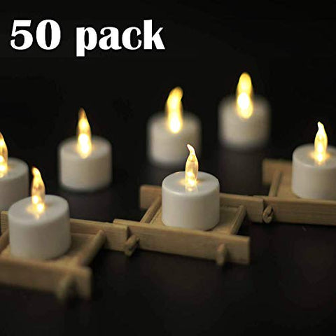 YIWER Tea Lights, LED Tea Light Candles 100 Hours Pack of Warm White Light 50pack Realistic Flickering Bulb Battery Operated Tea Lights for Seasonal & Festival Celebration Electric Fake Candle - llightsdaddy - YIWER - Flameless Candles
