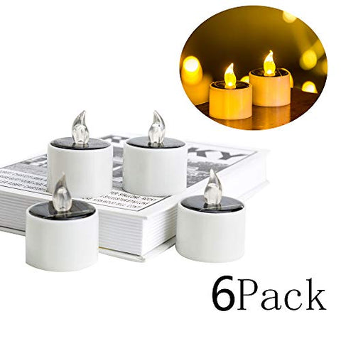 6 Pieces Solar Lantern Tea Lights Candles - Rechargeable Flickering Electronic Solar LED Lamp Nightlight - Plastic Flameless Solar Energy Candle for Outdoor Camping Emergency - llightsdaddy - Scorpio star - Flameless Candles