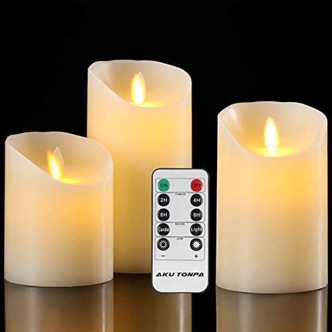 "Aku Tonpa Flameless Candles Battery Operated Pillar Real Wax Flickering Moving Wick Electric LED Candle Gift Set with Remote Control Cycling 24 Hours Timer, Pack of 3 (D:3.25"" X H:4"" 5"" 6"") - llightsdaddy - Aku Tonpa - Flameless Candles"