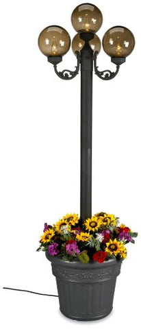 European 00490 Patio Lamp Black Body With Four Bronze Globes and Planter 80-inches Tall - llightsdaddy - Patio Living Concepts - Lamps