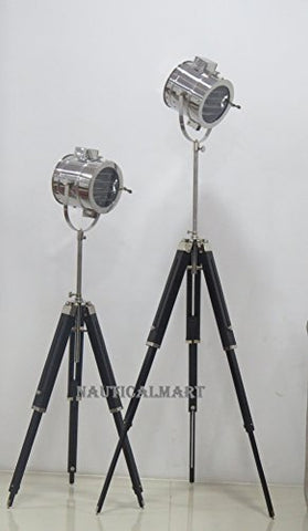 Vintage Industrial Theater Stage Spotlight Searchlight Floor Lamp With Wooden Stand - SET OF 2 - llightsdaddy - NAUTICALMART - Lamp Shades