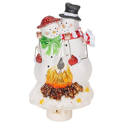 Roman Snowmen Couple By Campfire 8 Inch Acrylic Swivel Plug-in Bubble Night Light  Roman Floating & Submersile Lights llightsdaddy.myshopify.com lightsdaddy