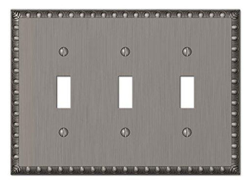 Amerelle Egg & Dart Triple Toggle Cast Metal Wallplate in Antique Nickel - llightsdaddy - AMERELLE - Wall Plates