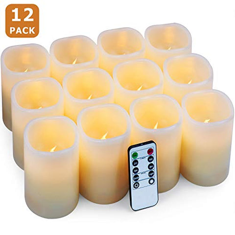 "Hausware Flameless Candles LED Candles Set of 12 (D:3"" X H:4"") Battery Operated Candles Flickering Bulb Pillar Ivory Real Wax Electric Candles with Remote and Timer, Ivory, 3""x4"" Set of 12 - llightsdaddy - Hausware - Flameless Candles"