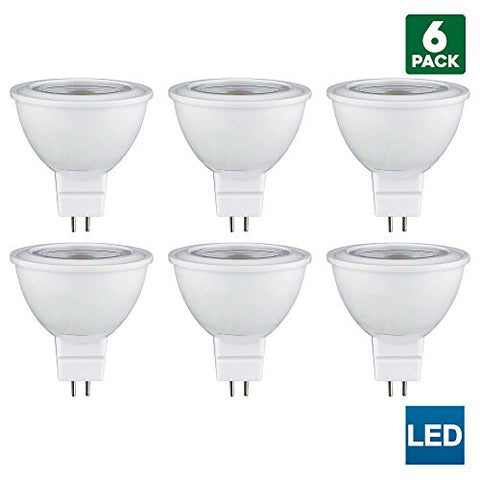 6 Pack Sunlite MR16 LED Bulb, 120 Volt, 5 Watt, 3000K Warm White, 450 Lumens, 80+ CRI, GU5.3 Base, 30,000 Hour Long Life, 50W Equal, Energy Saving, Cool Touch - llightsdaddy - Sunlite - Compact Fluorescent Lamps